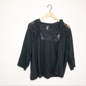 Torrid Black Lace Hooded Open Front Cardigan